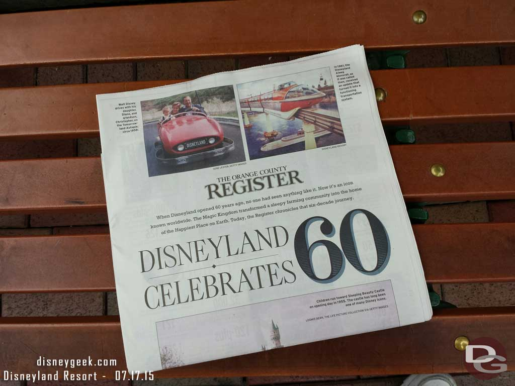 As you enter you a commemorative Orange County Register #Disneyland60