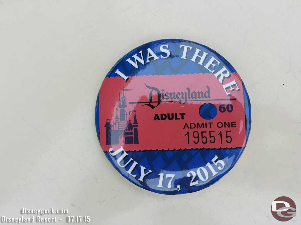 #Disneyland60 buttons to mark the day for all guests today