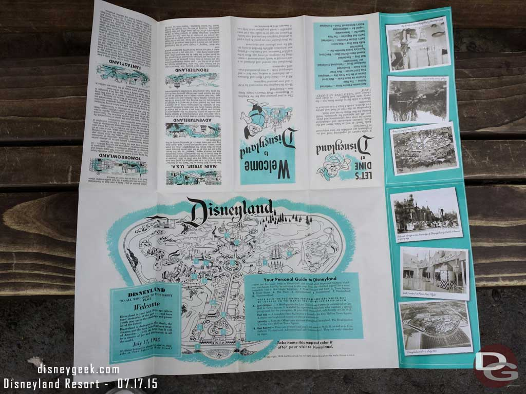 The commemorative #Disneyland60 guidemap opened up