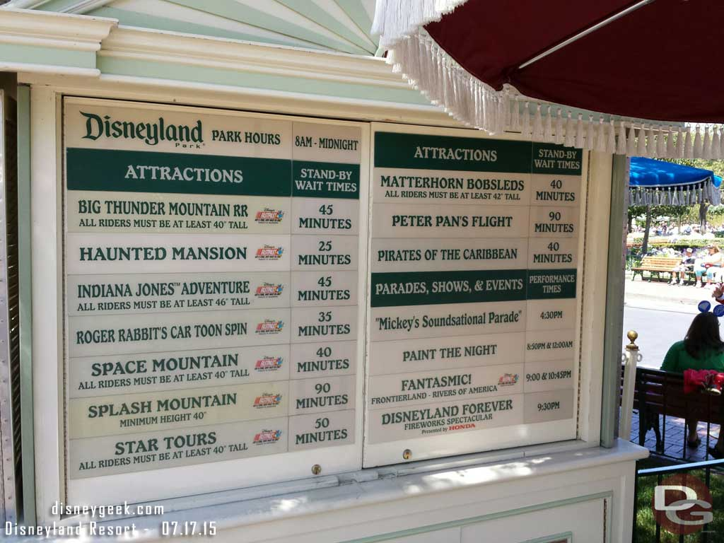 #Disneyland waits as of 1:40pm