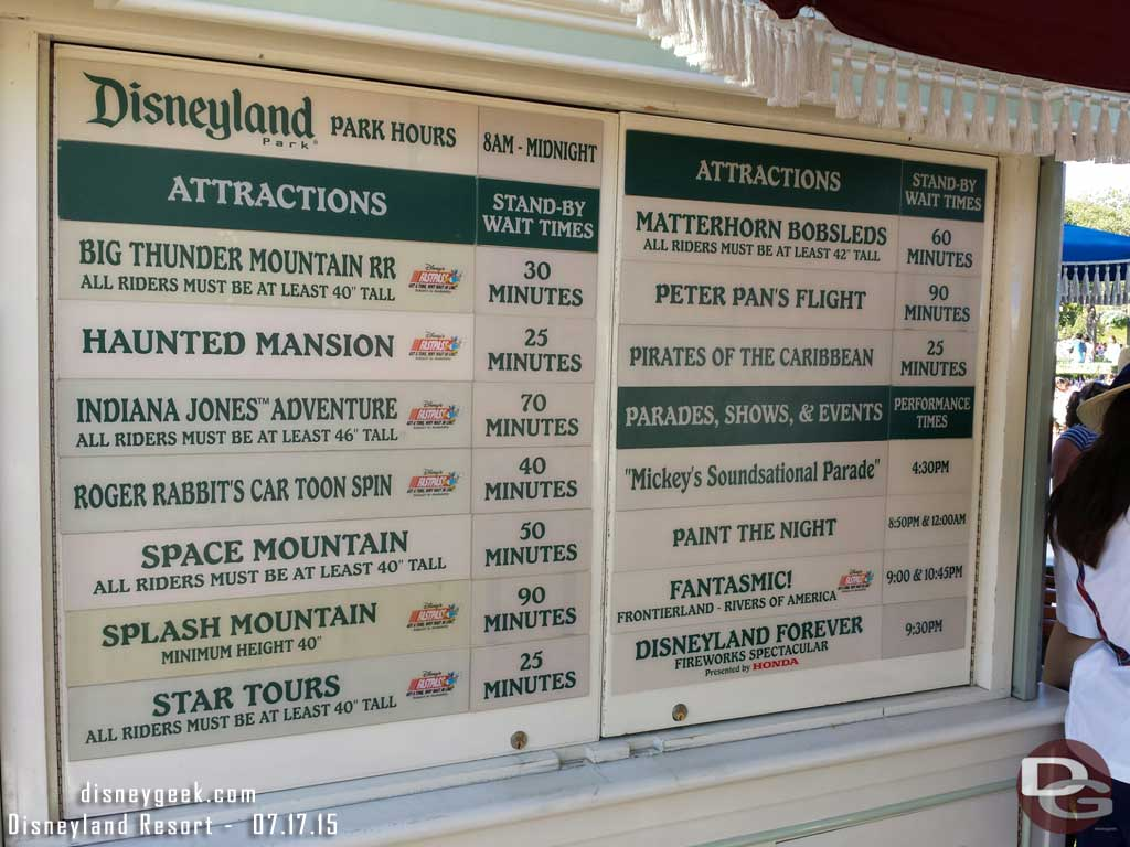 #Disneyland waits as of 4:39pm