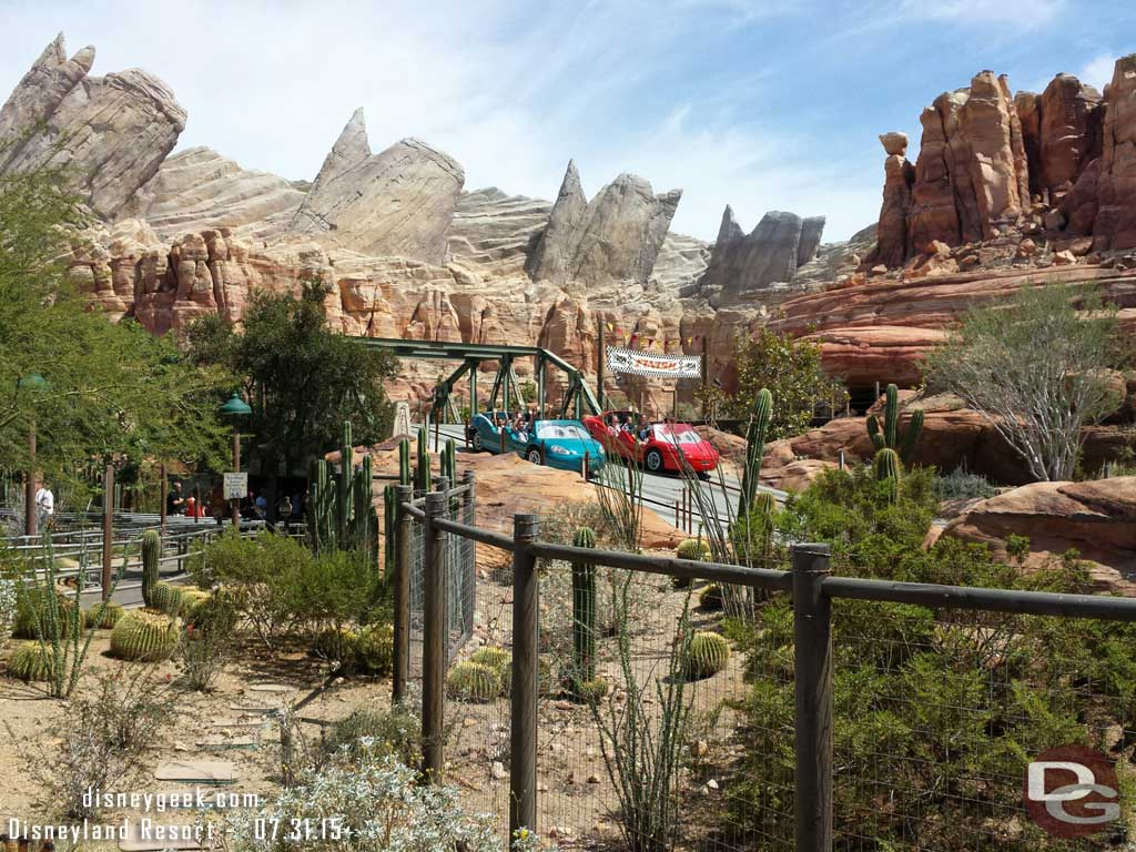 Ornament Valley #CarsLand this afternoon – Racers have a posted 120min wait