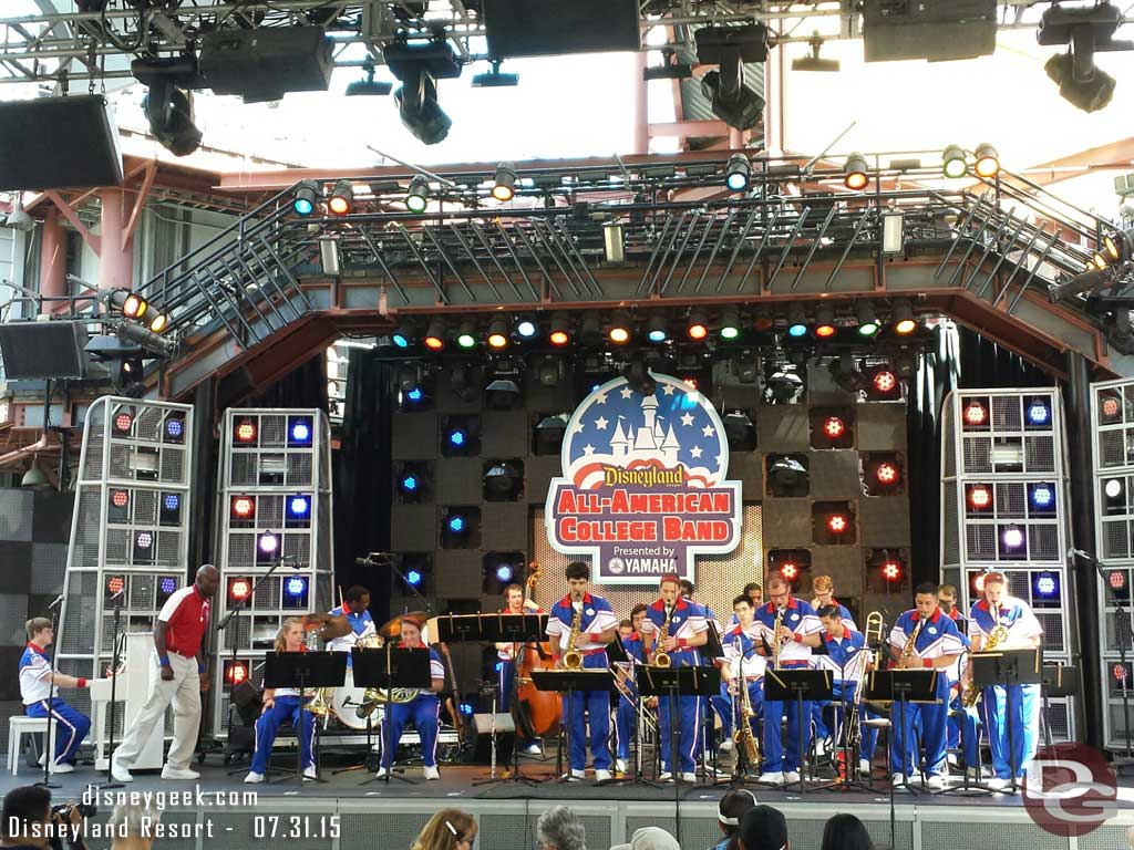 The #Disneyland All-American College Band at the Hollywood Backlot Stage