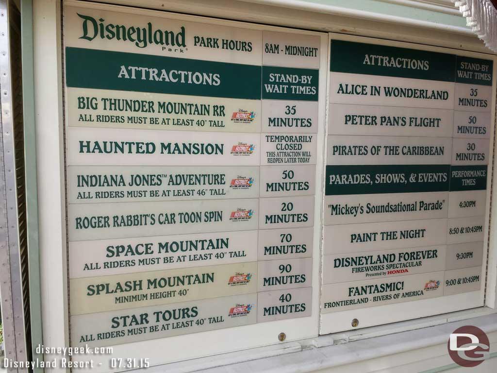 #Disneyland waits as of 4:49pm