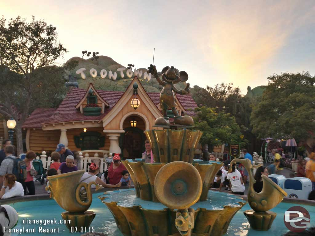 Toontown as the sun is setting this evening #Disneyland