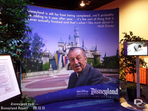 Walt to close out the Walt Disney Archives Presents - Disneyland: The Exhibit
