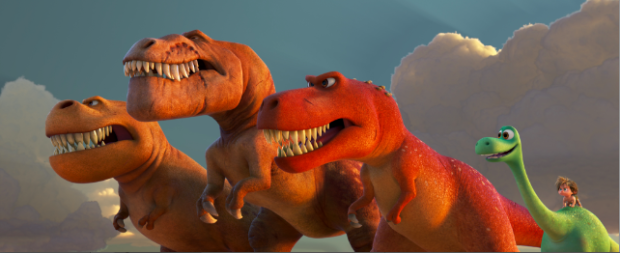 "T-REXES SPOTTED AT D23 EXPO 2015 – Anticipation for Disney·Pixar's ""The Good Dinosaur"" was amplified when director Peter Sohn and producer Denise Ream shared breathtaking sequences with fans, including never-before-seen footage of a trio of T-Rexes in action. In theaters on Nov. 25, 2015, ""The Good Dinosaur"" features Arlo, a sheltered Apatosaurus who finds himself far from home among a host of intimidating creatures.         A TRIO OF T-REXES — An Apatosaurus named Arlo must face his fears—and three impressive T-Rexes—in Disney•Pixar's ""The Good Dinosaur."" Featuring the voices of AJ Buckley, Anna Paquin and Sam Elliott as the T-Rexes, ""The Good Dinosaur"" opens in theaters nationwide Nov. 25, 2015."