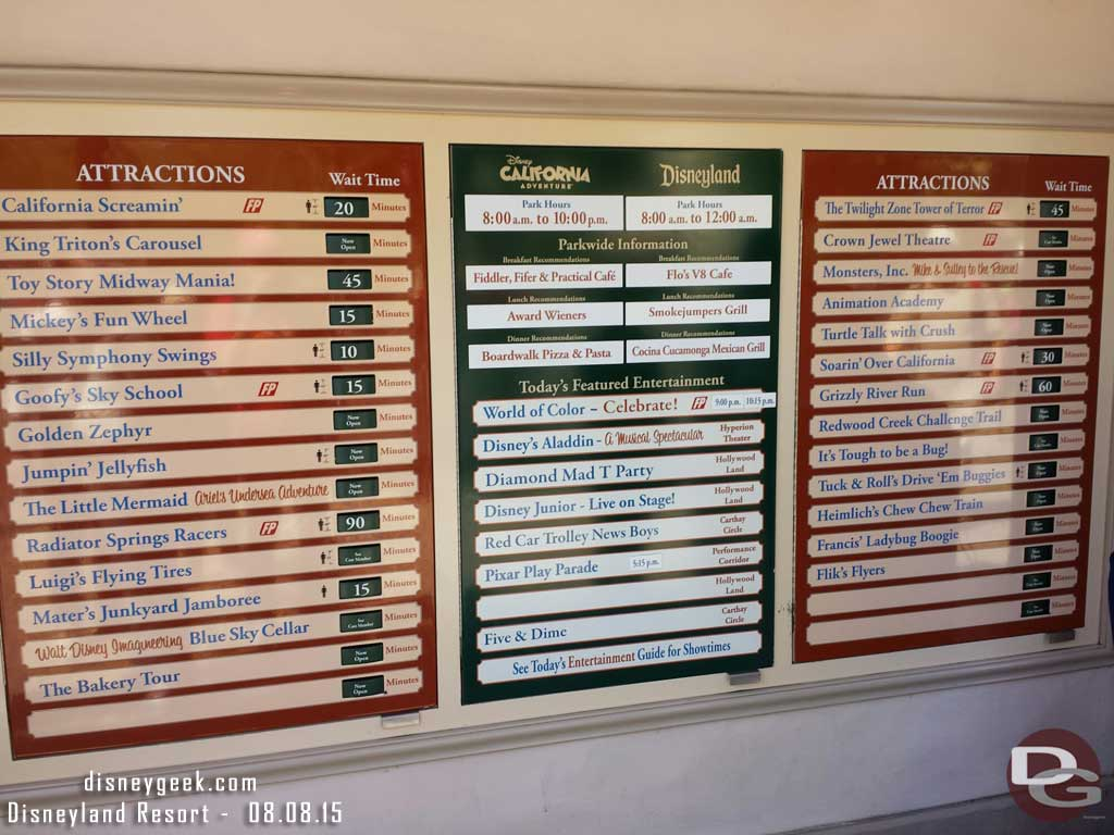 Some Disney California Adventure waits as of 11:18am