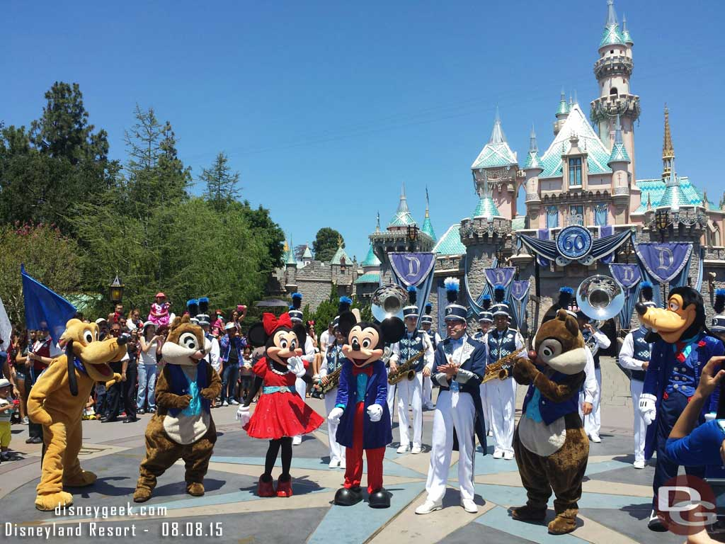 The #Disneyland Band & characters in front of Sleeping Beauty Castle
