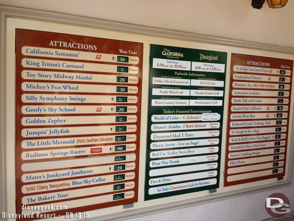 Some Disney California Adventure waits as of 1:58pm