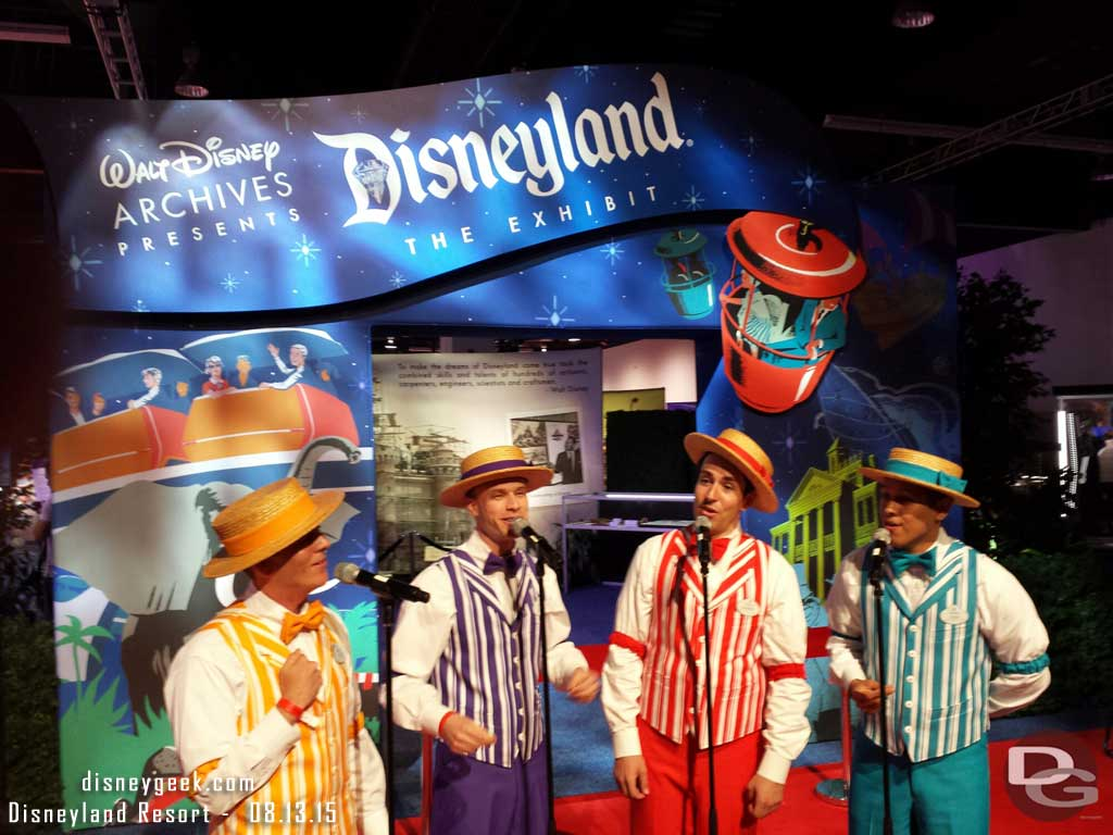 The Dapper Dans of Disneyland performing before the official opening of the Walt Disney Archives Presents Disneyland the Exhibit
