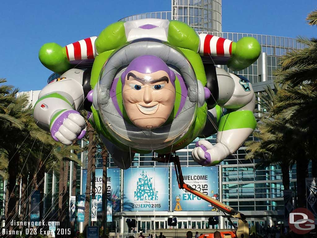 Buzz Lightyear from the Macy's Thanksgiving parade greets everyone for the #D23Expo