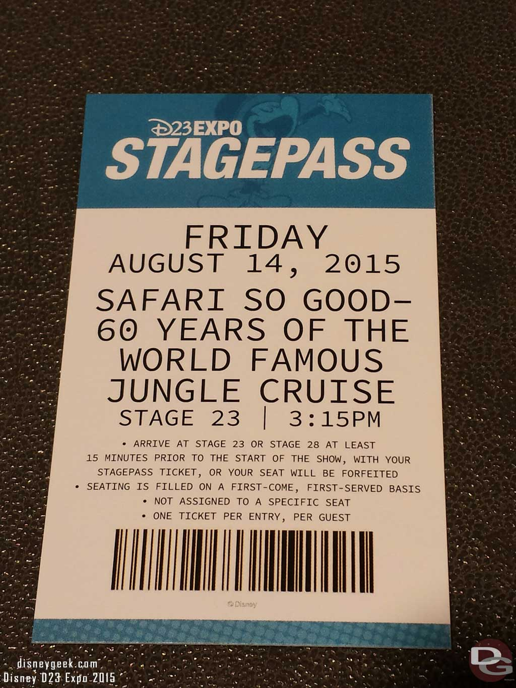 Secured a StagePass for the Jungle Cruise presentation #D23Expo