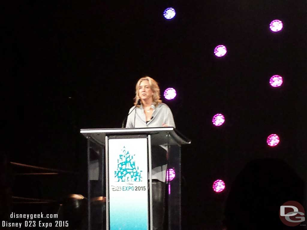 Leslie Iwerks introducing the Working with Walt panel #D23Expo