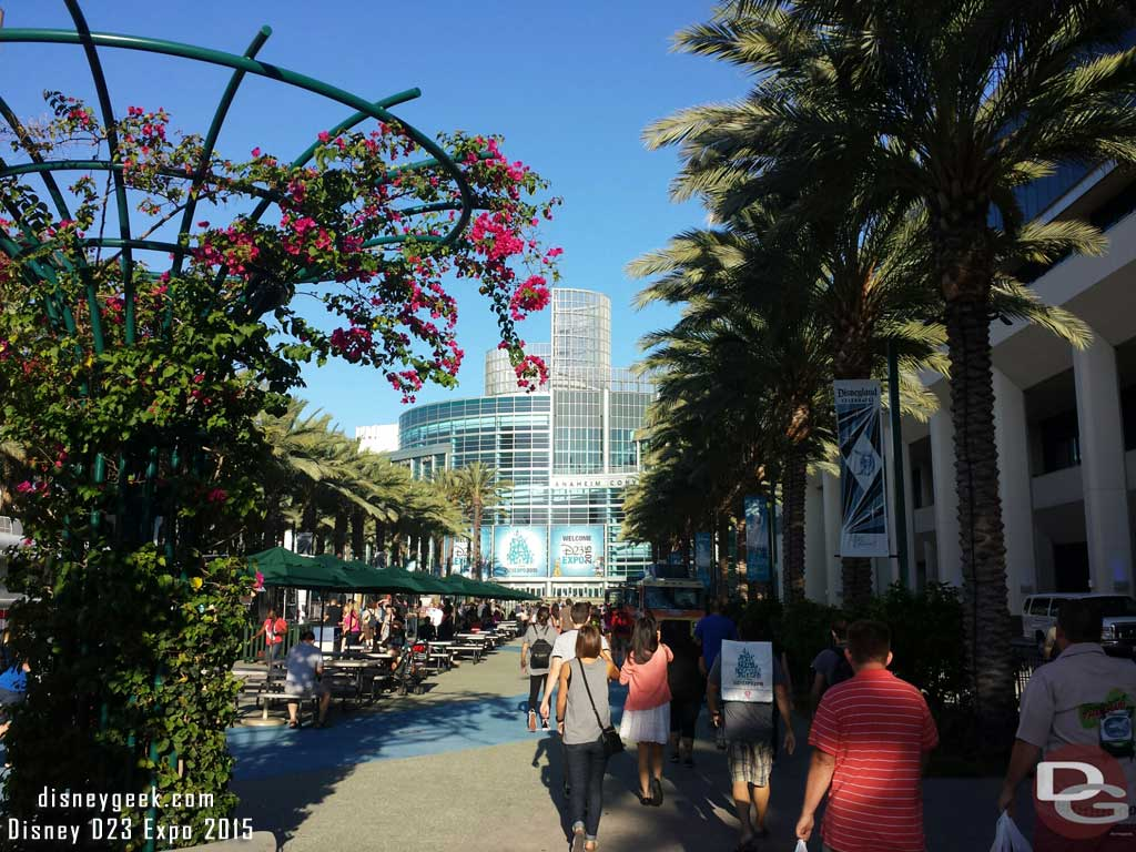 Arriving at the convention center for Day 2. It seemed less crowded because the big Hall D23 line was out of site.