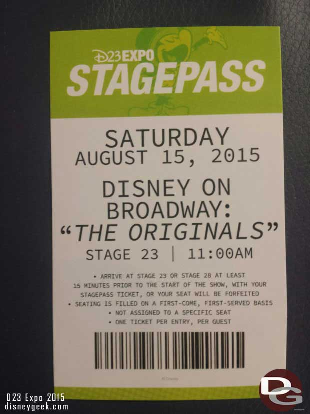 My StagePass for this morning.