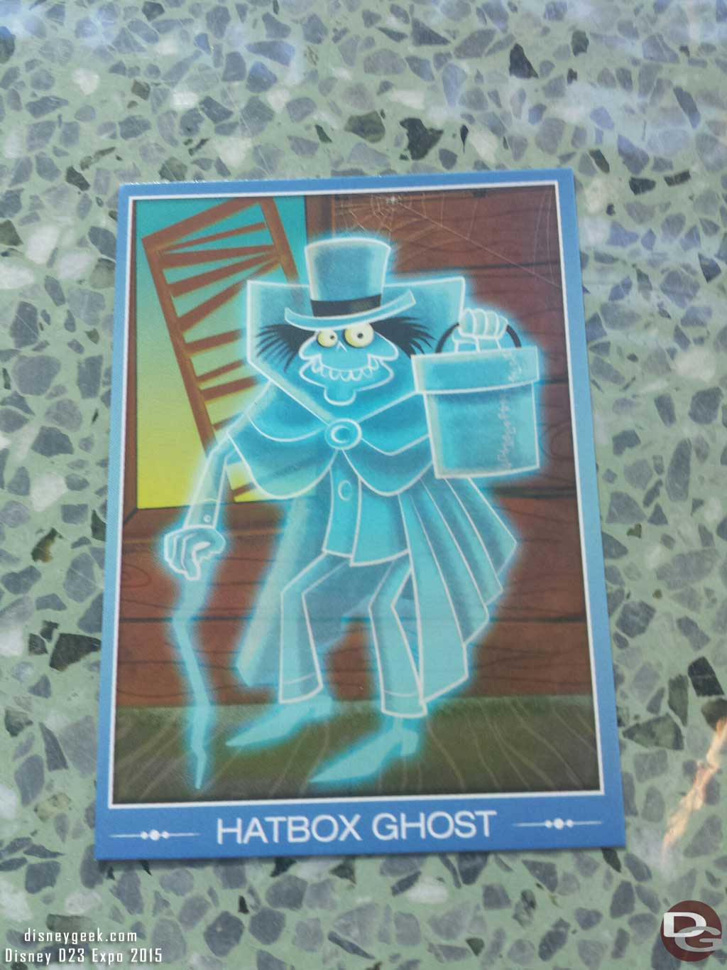 Here is the card featuring the Hatbox Ghost #D23Expo