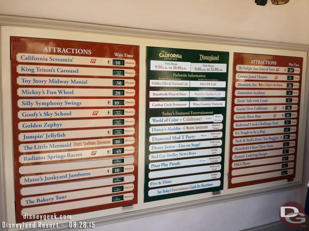 A check of the current Disney California Adventure waits as of 1:25pm