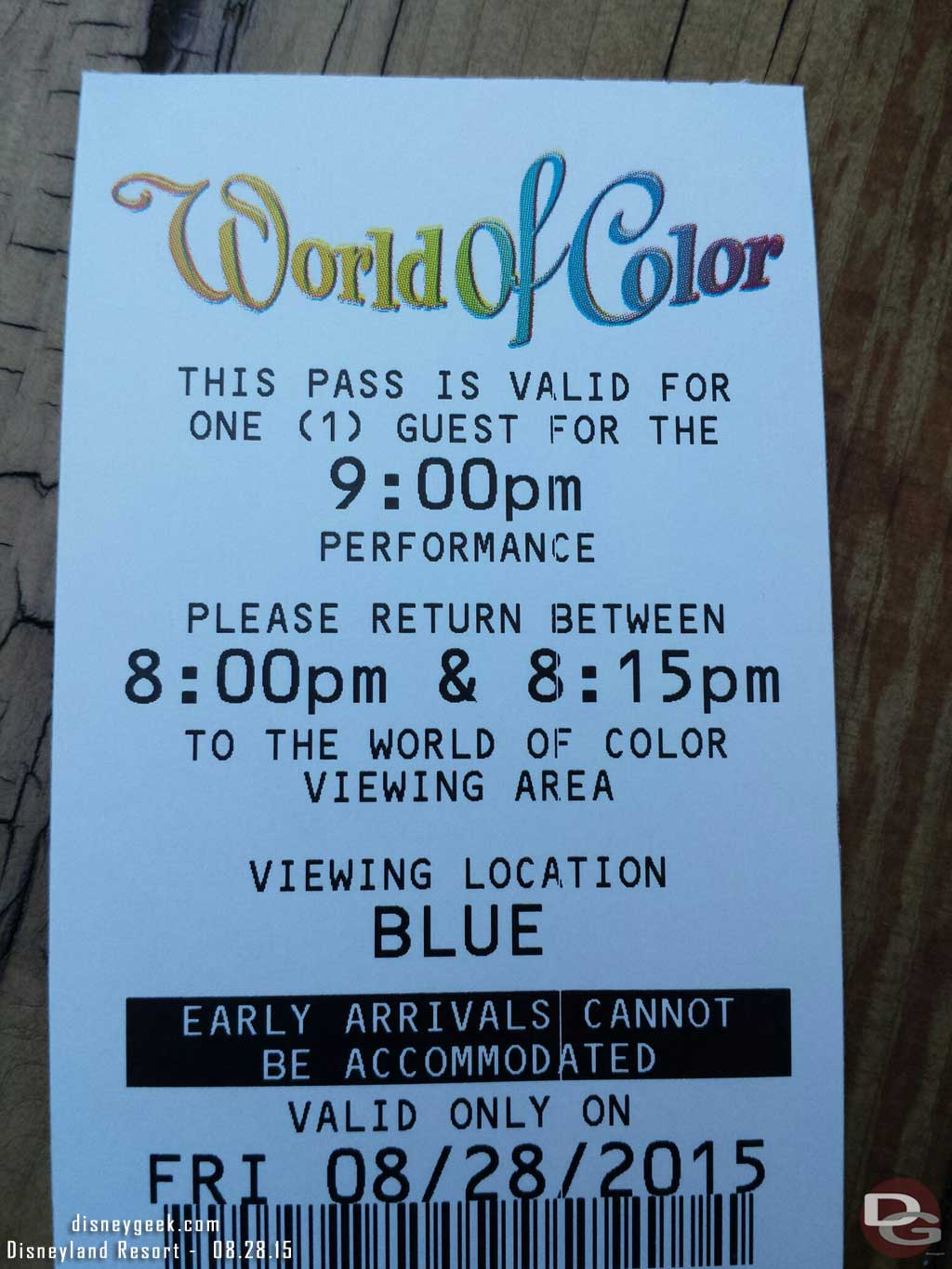 FastPasses for the 1st World of Color – Blue section still available at 1:30pm