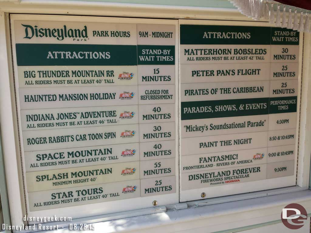 #Disneyland waits as of 3:13pm