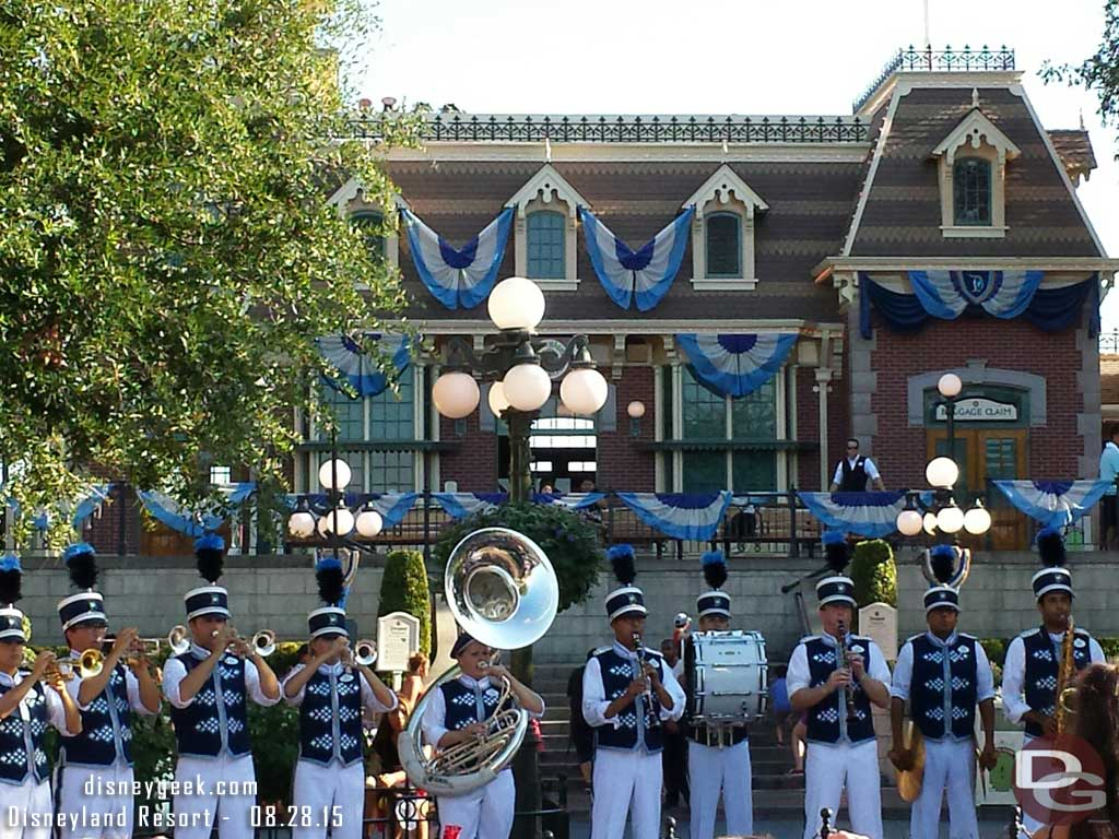 The #Disneyland Band at the nightly Flag Retreat Ceremony in Town Square