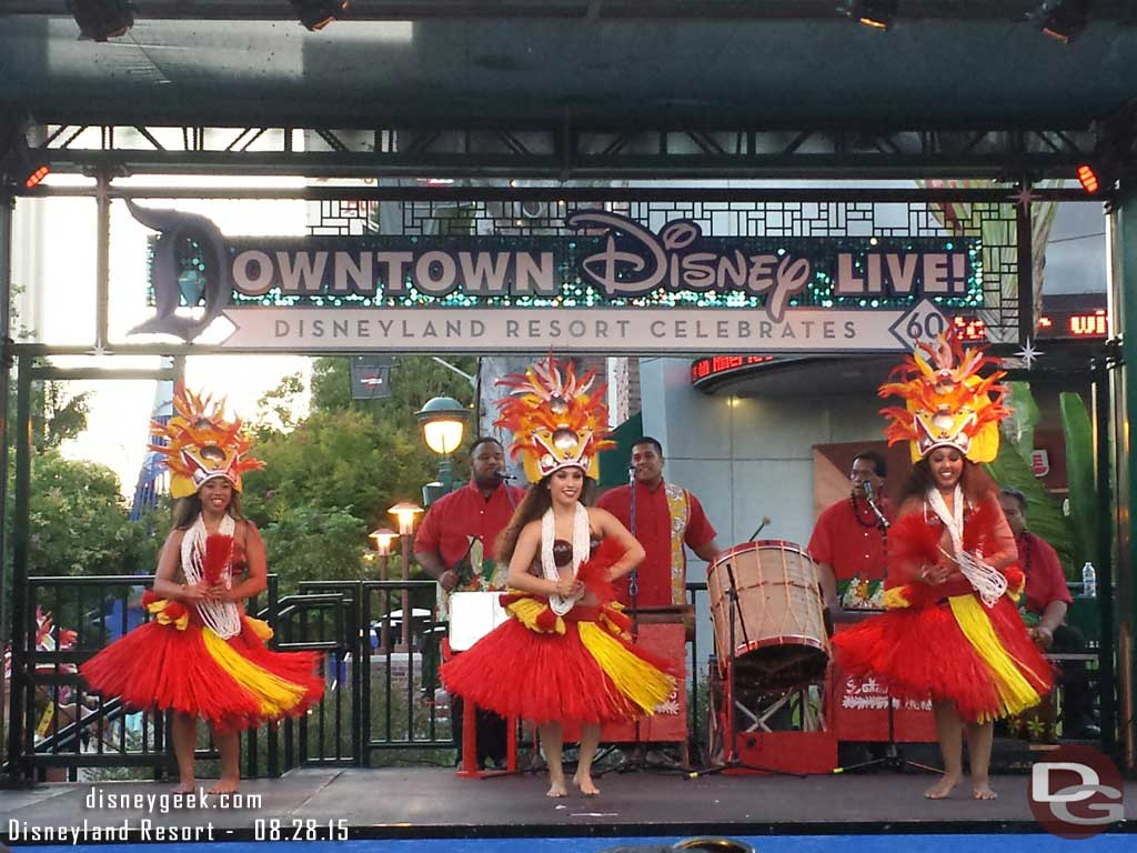 The stage near ESPN in Downtown Disney is featuring island music & dance this evening