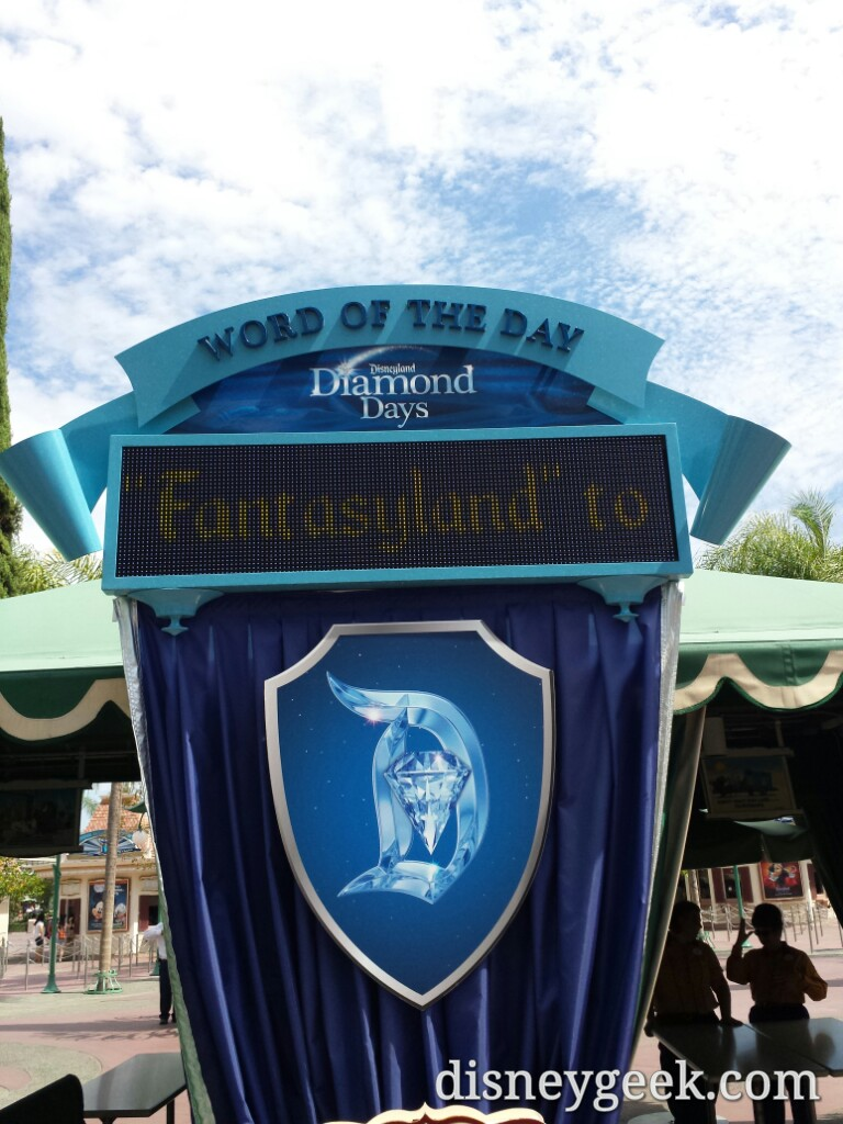 Today's word of the day #Disneyland60 also note they changed the phone # to castle