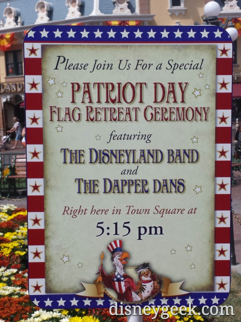 #PatriotDay flag retreat @ 5:15pm in Town Square #Disneyland