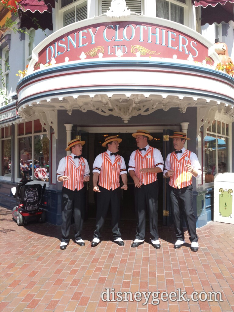 The Dapper Dans of #Disneyland in #Halloween orange and singing season inspired songs on Main Street USA