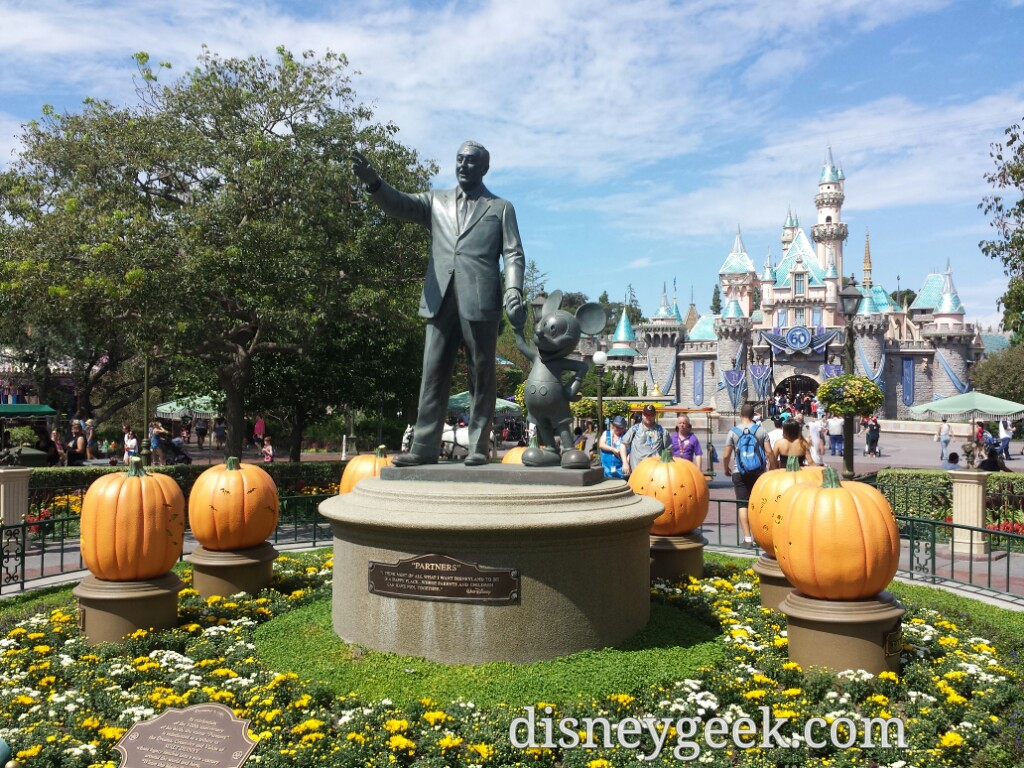 Partners statue in the hub with pumpkins #Disneyland #Halloween