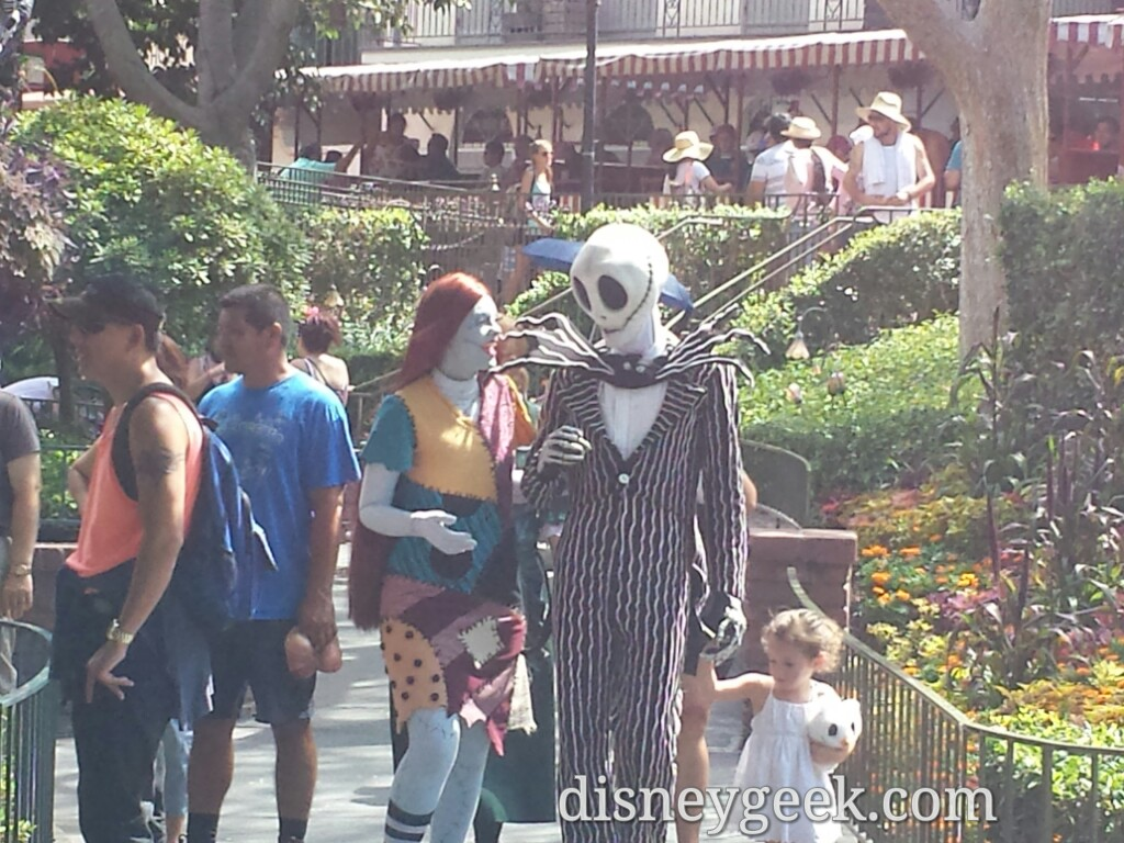 Jack & Sally out for a walk with a guest in New Orleans Square #Disneyland #HalloweenTime
