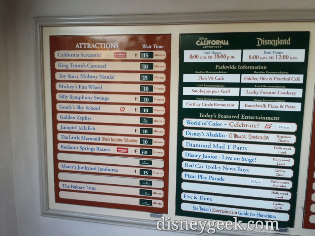 Disney California Adventure waits as of 6:25pm