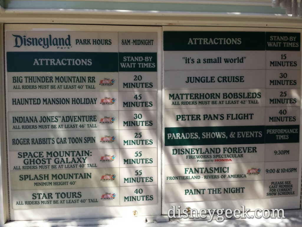 #Disneyland waits as of 1:33pm