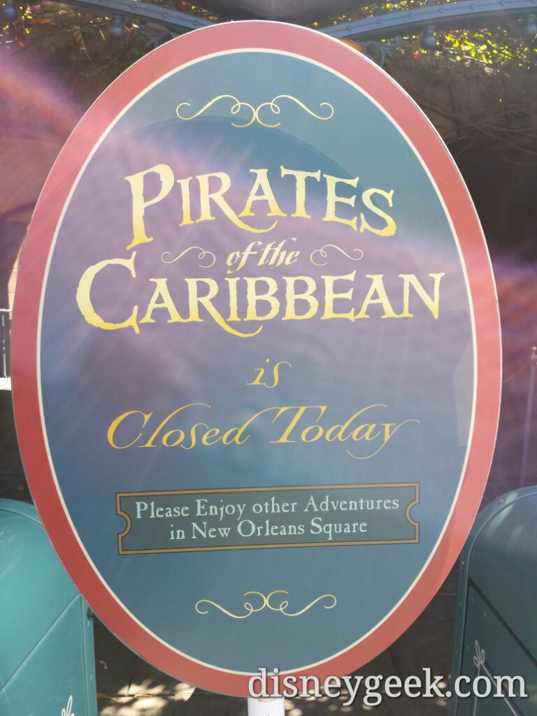 Pirates of the Caribbean is closed today #Disneyland