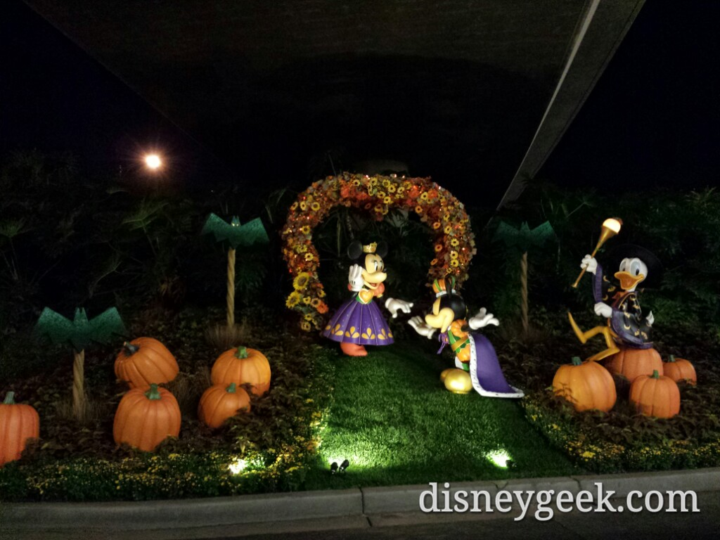 Mickey, Minnie & Donald #HalloweenTime decorations along the tramway #Disneyland