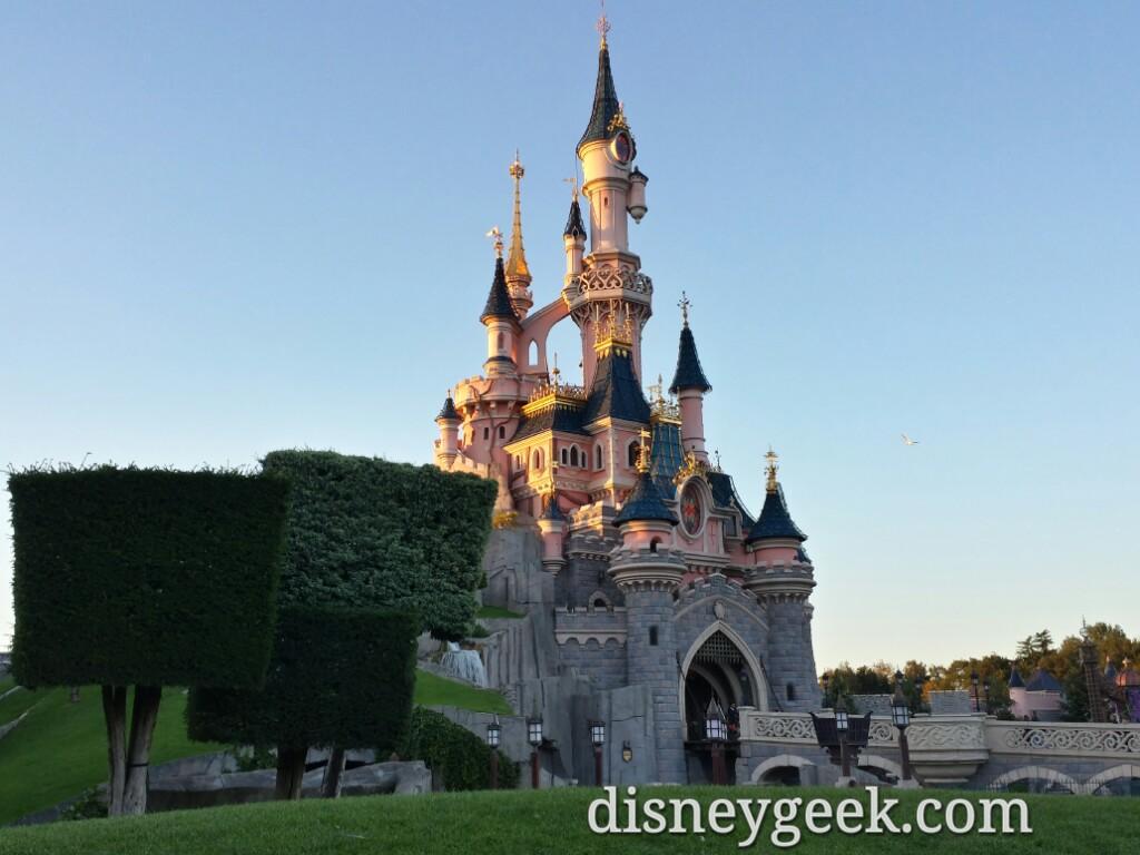 Sleeping Beauty Castle as the sun is setting #DisneylandParis