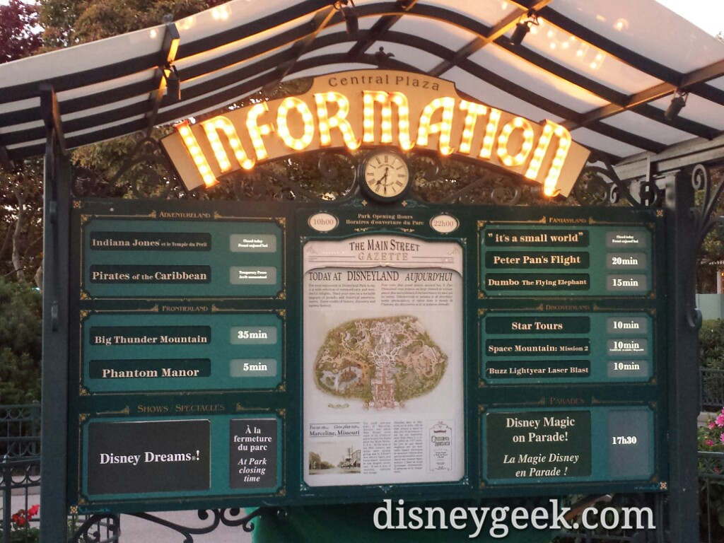 Wait times at 7:30pm #DisneylandParis