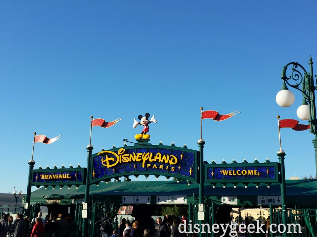Welcome sign at the entrance of #DisneylandParis