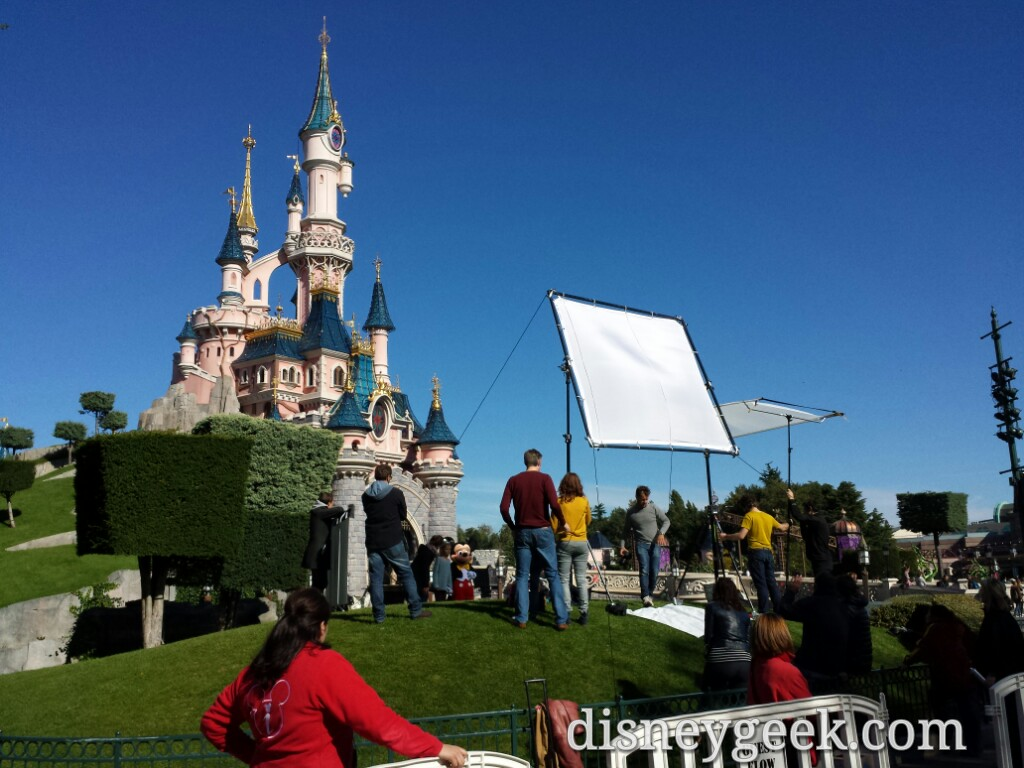 A photo shoot going on in front of Sleeping Beauty Castle #DisneylandParis