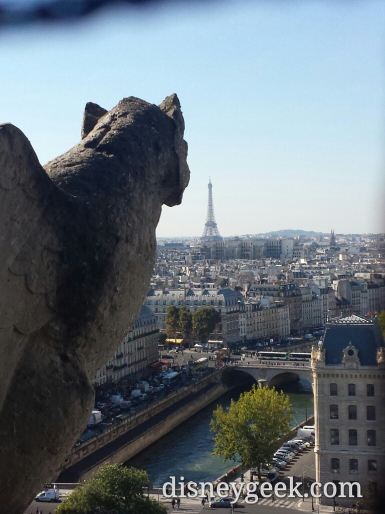 A #NotreDame gargoyle looking toward the #EiffelTower #Paris