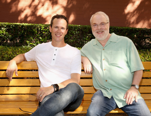 """BURBANK, CA - SEPTEMBER 27:  Actor Scott Weinger (L) and Director/producer Ron Clements attend a special LA screening celebrating Diamond Edition release of """"ALADDIN"""" at The Walt Disney Studios on September 27, 2015 in Burbank, California.  (Photo by Jesse Grant/Getty Images for Disney)"""