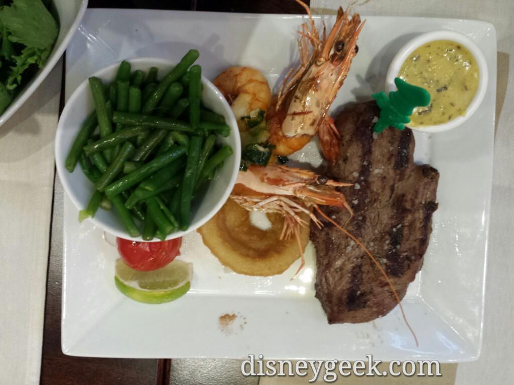Steak and prawns at the Steakhouse in #DisneyVillage #DisneylandParis