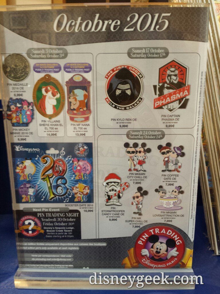 October pin releases at  #DisneylandParis