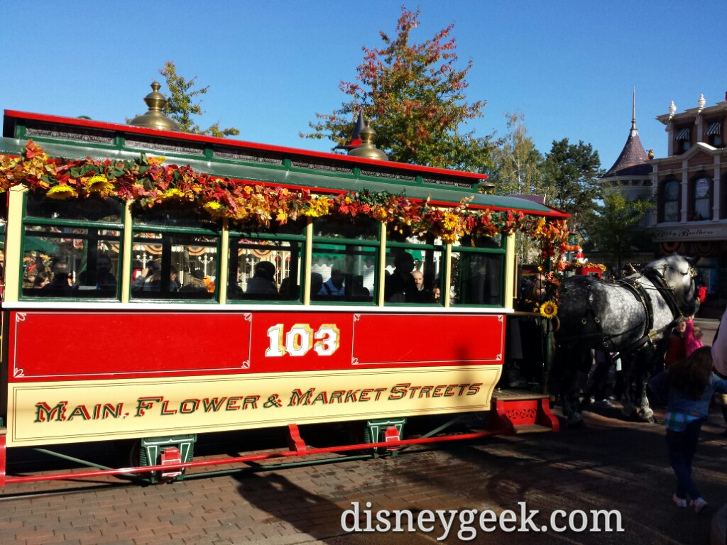 Horse drawn street car out this morning #DisneylandParis