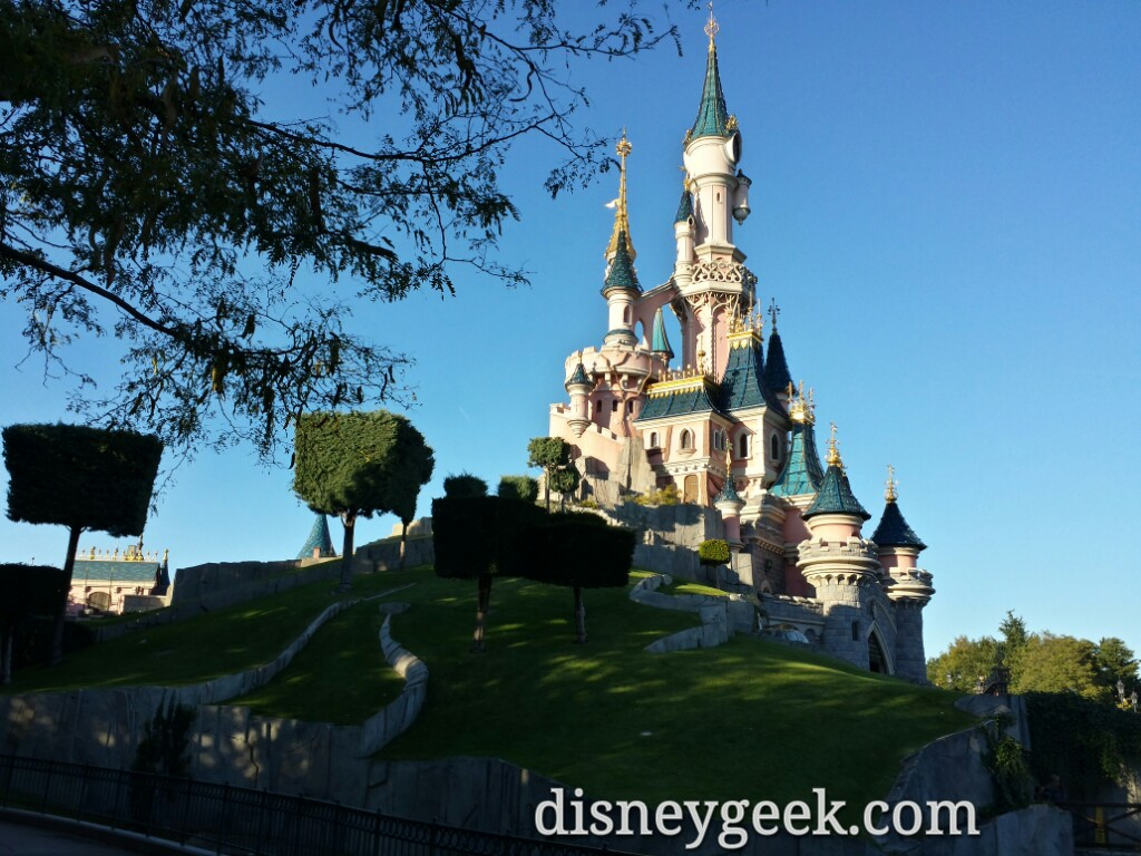 Found a quiet spot to queue up posts and this was my view of Sleeping Beauty Castle #DisneylandParis