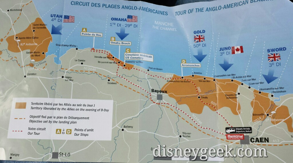 Our route for the day is the red dashes line – D-Day Tour