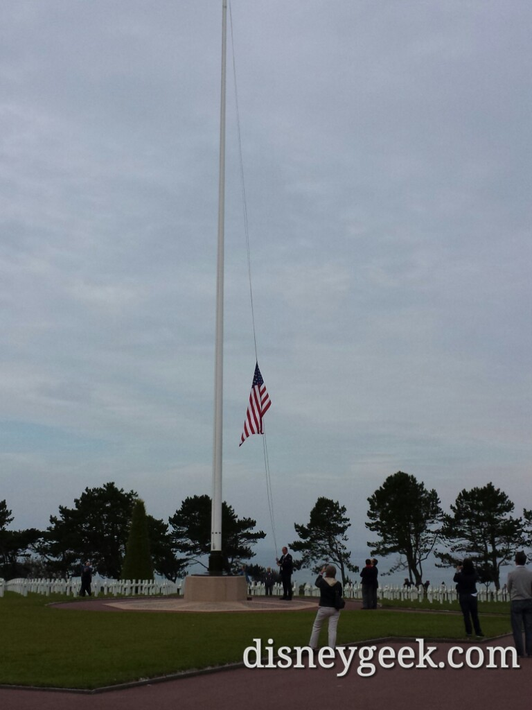 Flag retreat at the American Cemetery in Normandy France (Picture & Video)