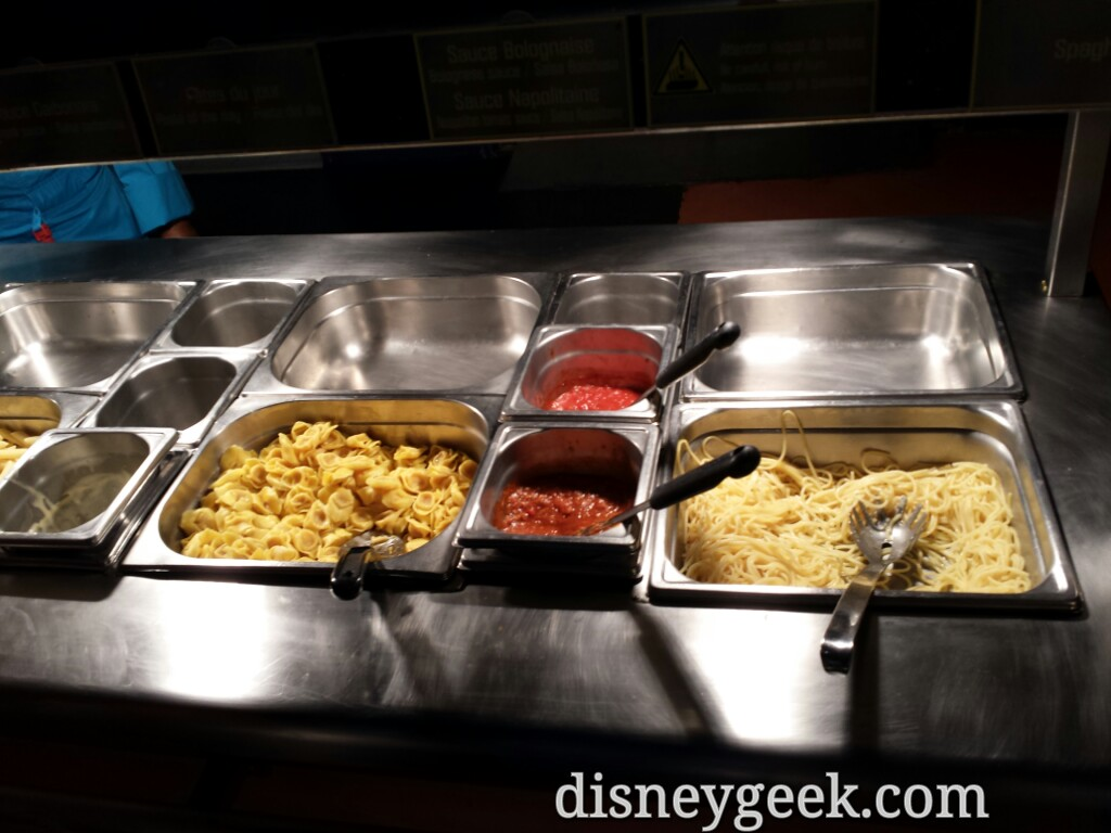 Pasta choices at Pizza Planet #DisneylandParis