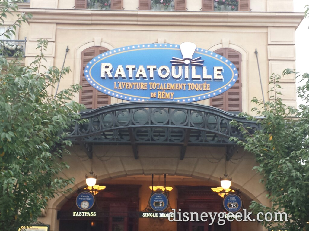 Ratatouille was a walk on for fastpass and single rider and a posted 15min for standby