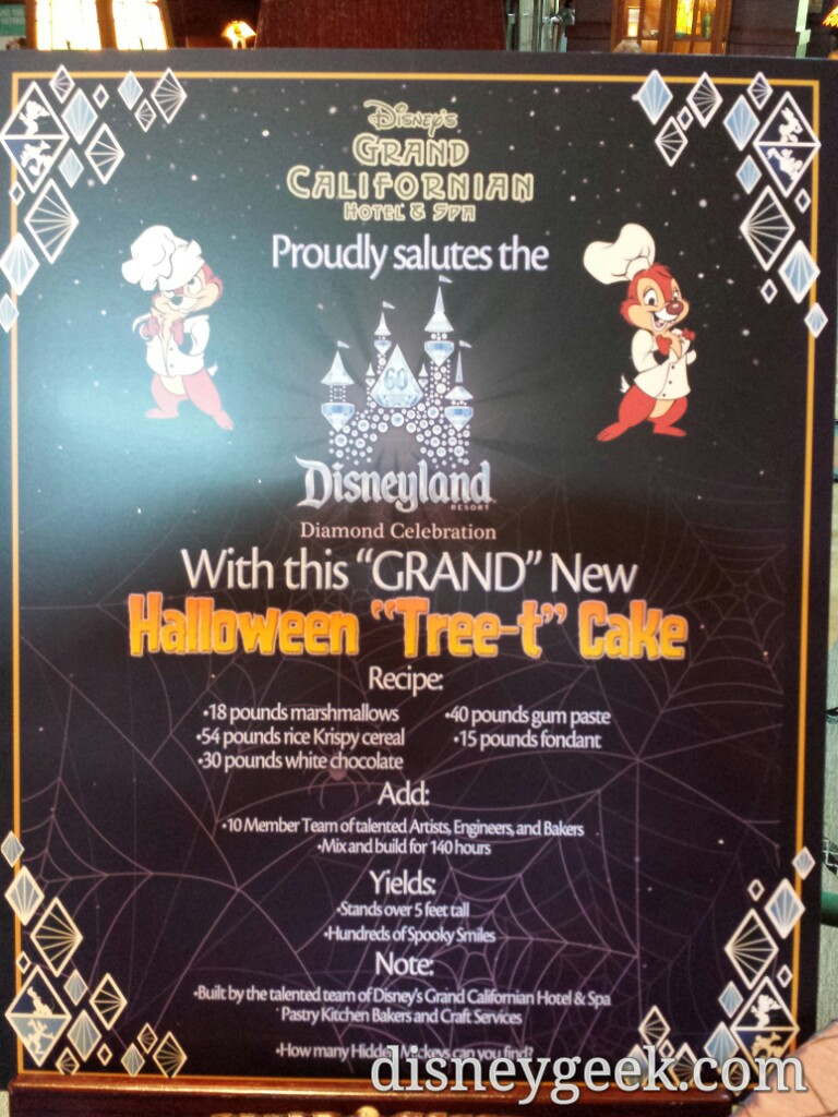 Some info on thr #Halloween Tree-t Cake at the Grand Californian